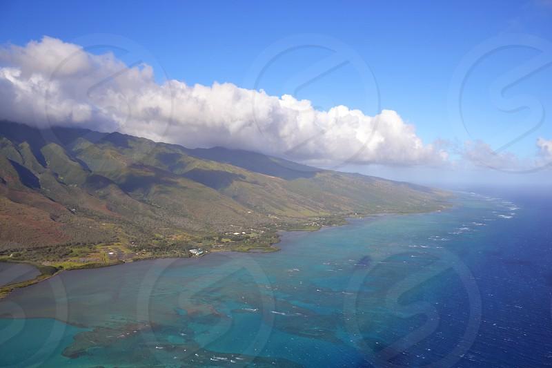 Maui Hawaii - ariel view of the island photo