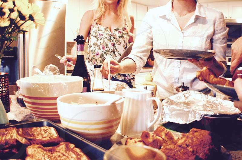 Brunching breakfast eating family home women food  photo