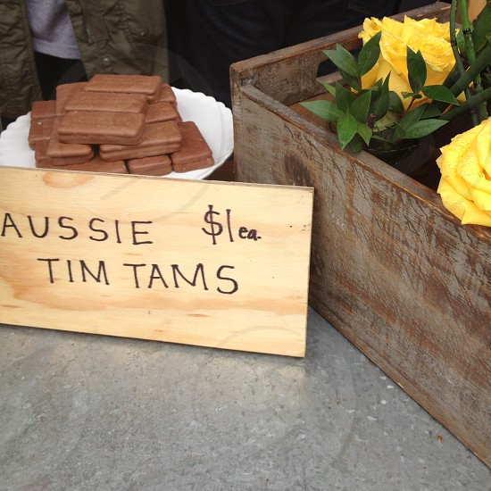 Aussie Tim Tams and yellow roses photo