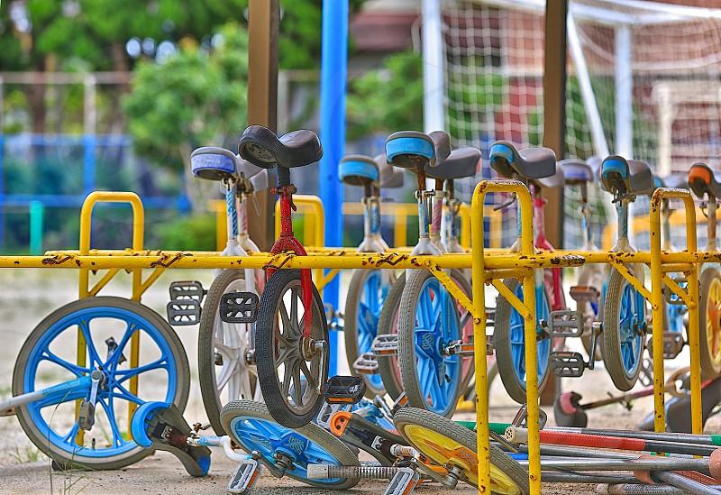 back to school ground monocycle School school playground school supplies schoolyard unicycle photo