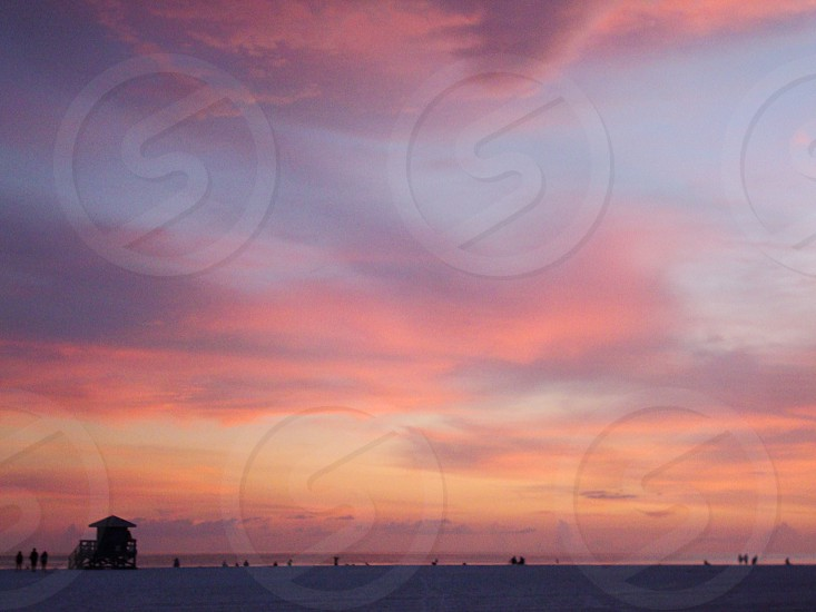 beach sunset pink nature summer vacation clouds photo
