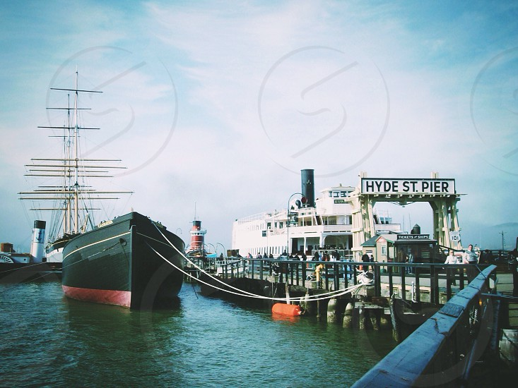 black and red ship  photo