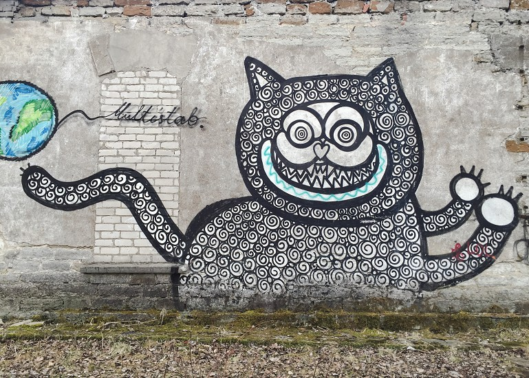 Outdoor day horizontal colour paint graffiti street art urban cat feline swirl pattern spiral face tail wall Tallinn Estonia Europe European travel photo