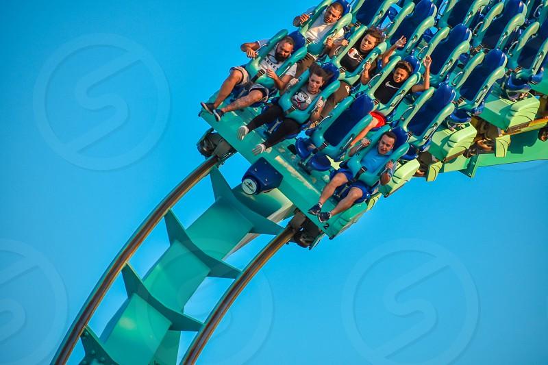 Orlando Florida . February 26  2019. People having fun terrific Kraken rollercoaster at Seaworld Theme Park (6) photo