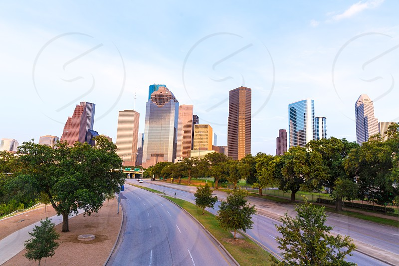 Houston skyline at sunset from Allen Pkwy Texas USA US America photo