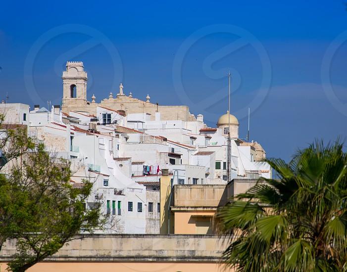 Mao Mahon downtown white city in Menorca at Balearic islands Spain photo