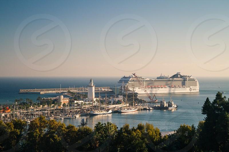 A cruise ship in the port of Málaga Spain. photo