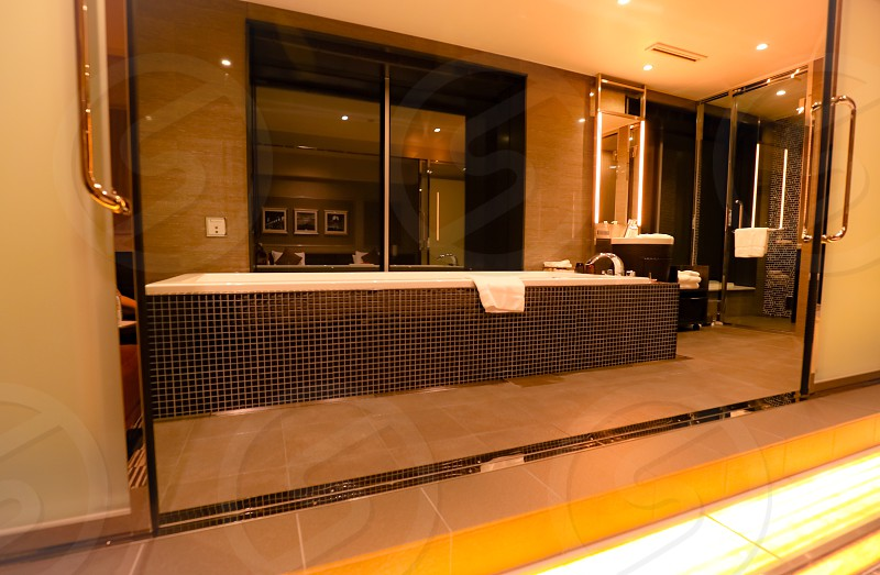 bathsuitehotelbathtubshowerluxurysparoomJapanOsakaUniversal Studiostiledesigncontemporarydecortowelbathtimefaucethardwaredoorwindowwindowsreflectionwatermirrorbathroommodernstyleelegant photo