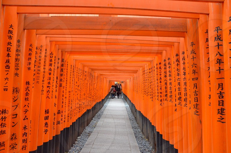 orange painted post alley photo