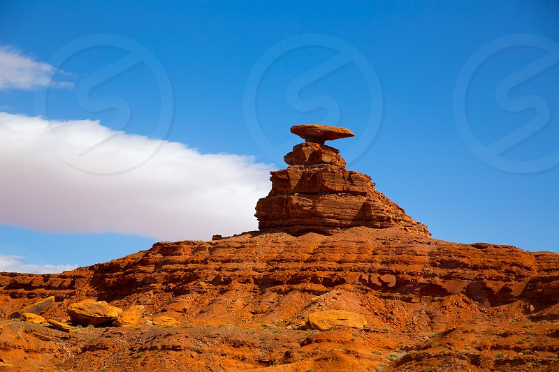 Mexican Hat rock US 163 Scenic road near Monument Valley in Utah photo