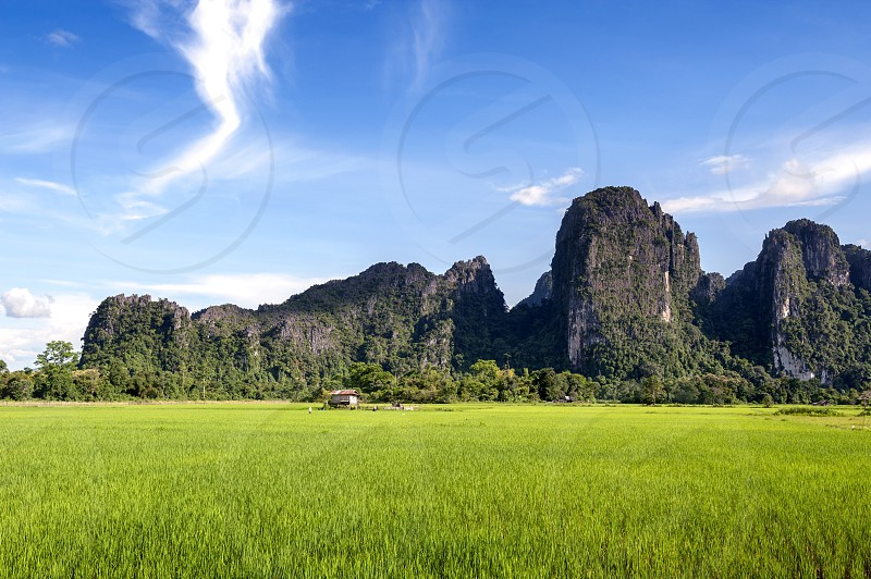 Limestone mountain and rice paddies in Vang Vieng Lao PDR. photo