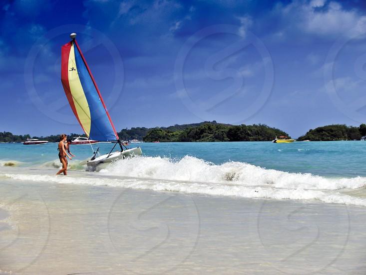 Chaweng Beach most popular tourist beach destination on Koh Samui Island in Suratthani southern province of Thailand photo
