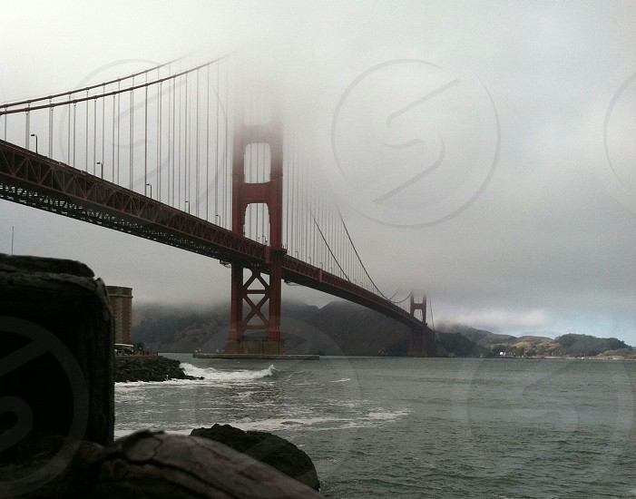 san francisco california golden gate bridge bridge bay fog water photo