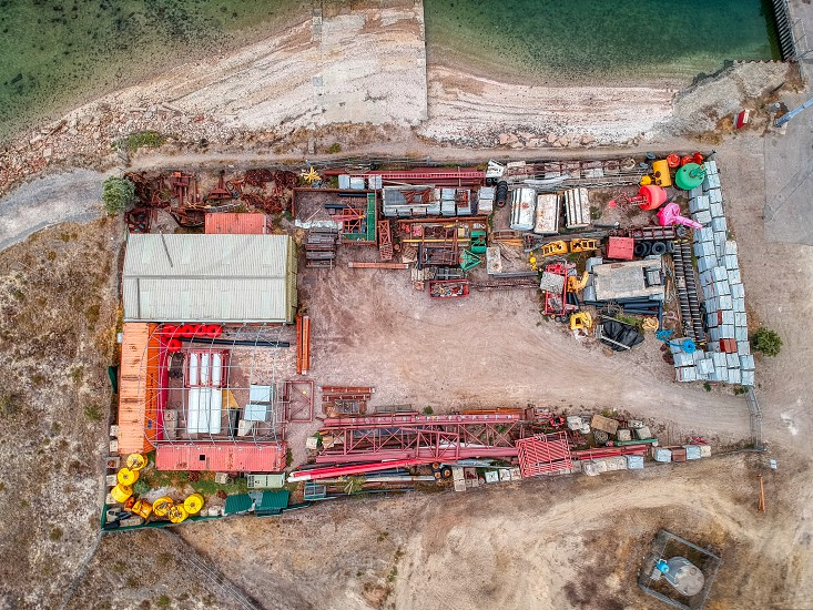 Top down view of a marine salvage yard photo