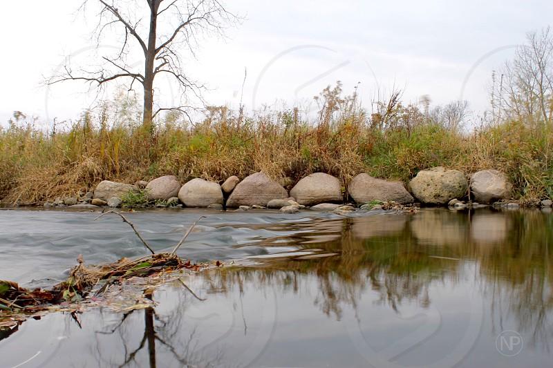 Fall river rocks plants trees reflection waterfall photo