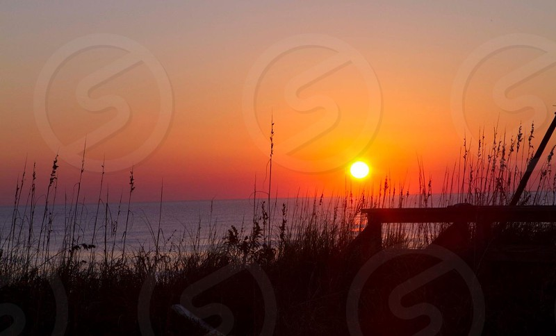 beach and sunset view photo