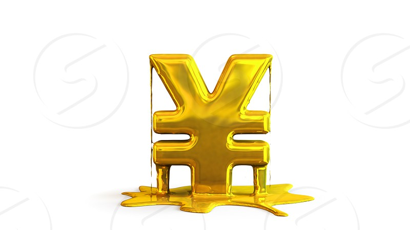 3D illustration of yen symbol melting photo
