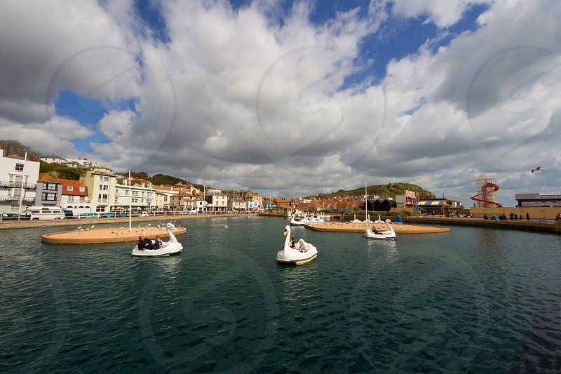 Swan Boats and view of Hastings photo