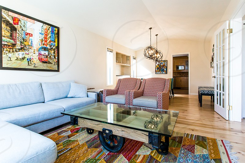 A bright and colorful living room space photo