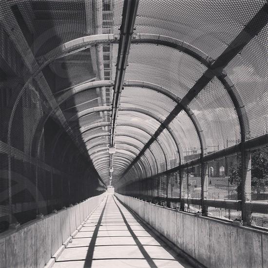 black gray photoraph of covered walkway photo