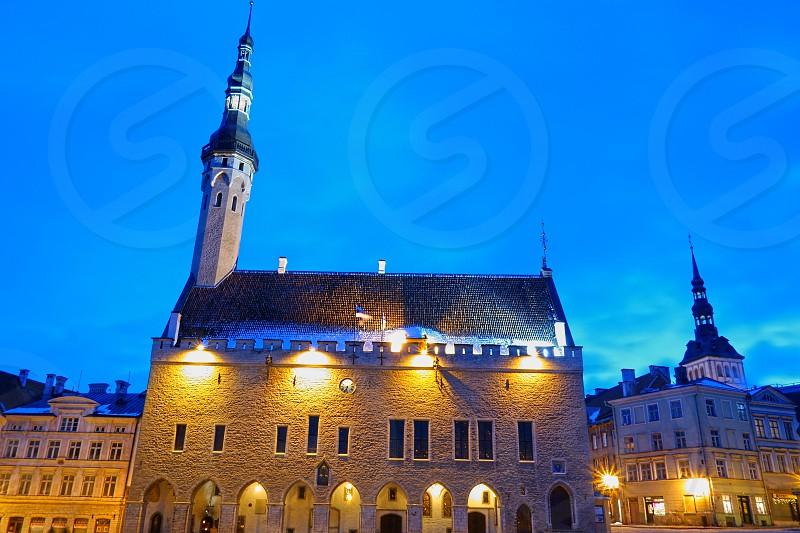 The Tallinn Town Hall (Raekoda) in early evening light.  photo