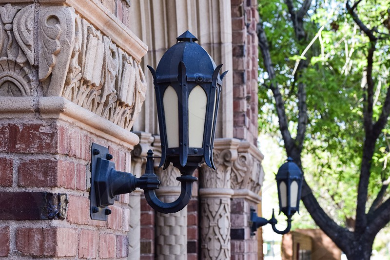 Architecture detail carriage lights stone church photo
