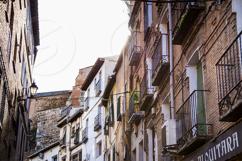 old European street with balconies photo