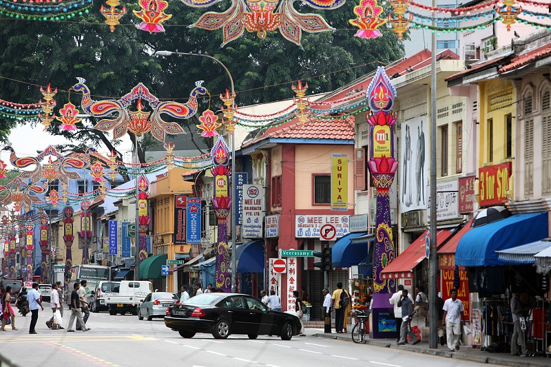 a steet in the little india town in the city of Singapore in Southeastasia. photo