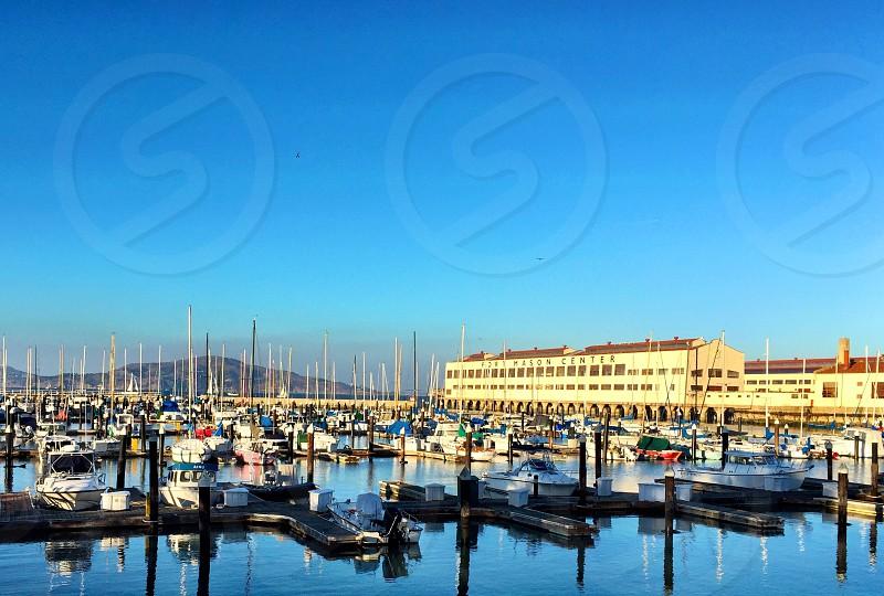 San Francisco Fort Mason sailboats dock sailing water bay boats Marina pier travel wharf  photo