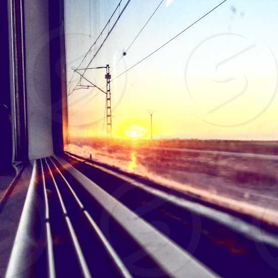 #Train #Window #Sunset photo