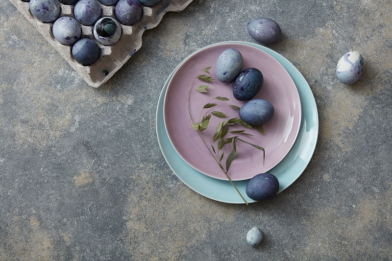 Easter table setting on stone background photo