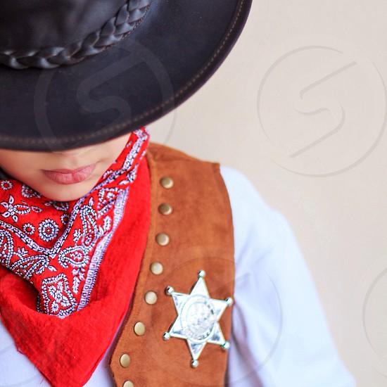brown leather cowboy suit photo
