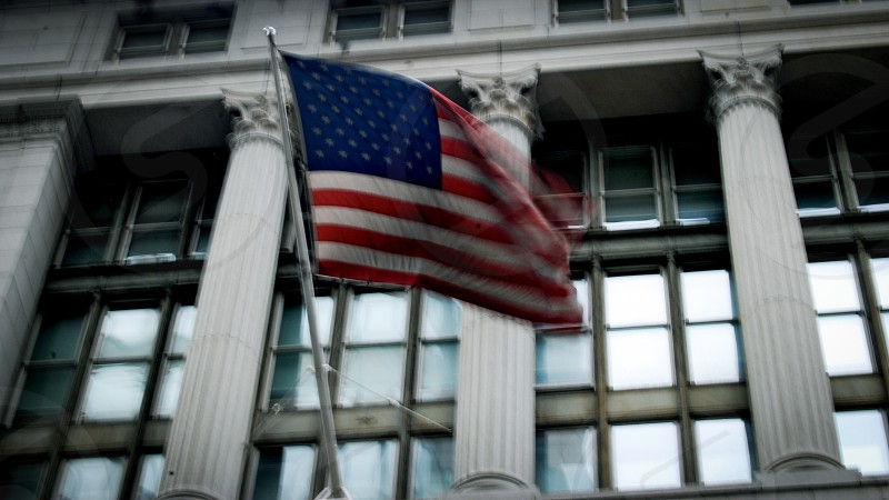 American flag at the Wall Street NYC photo