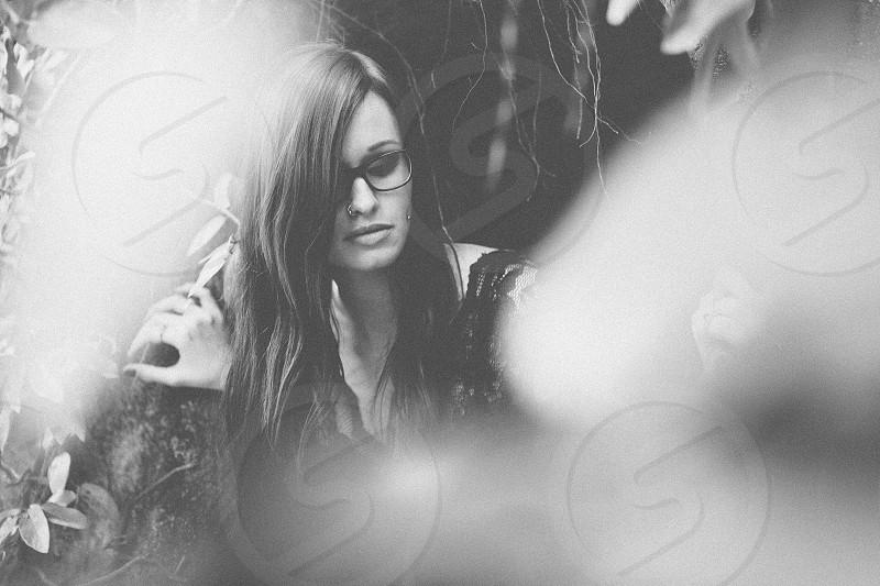 artistic creative black and white grain portrait girl lady dark moody ethereal art concept photo