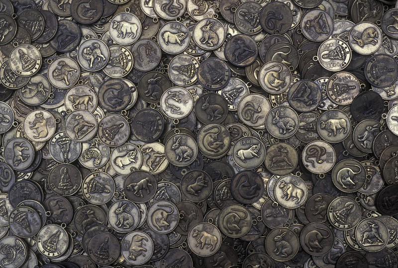 coins in a temple in the city of Chongqing in the province of Sichuan in china in east asia.  photo