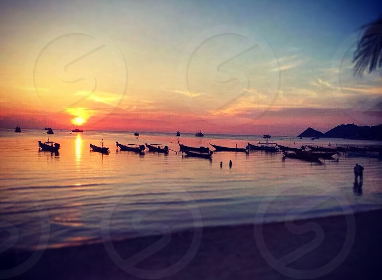 Sunset on Sairee Beach Koh Tao Thailand  photo
