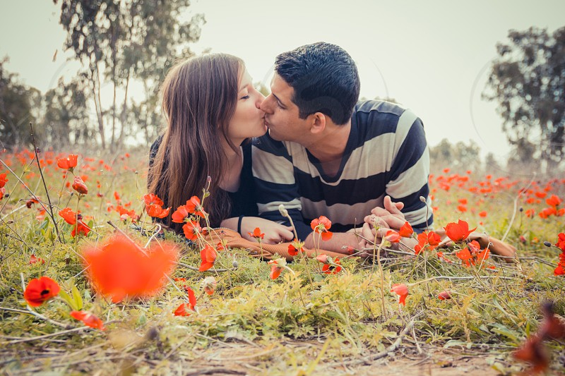 Young couple kissing while lying on the grass in a field of red poppies. photo