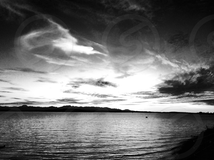 Sunset black and white Puget sound Seattle west photo