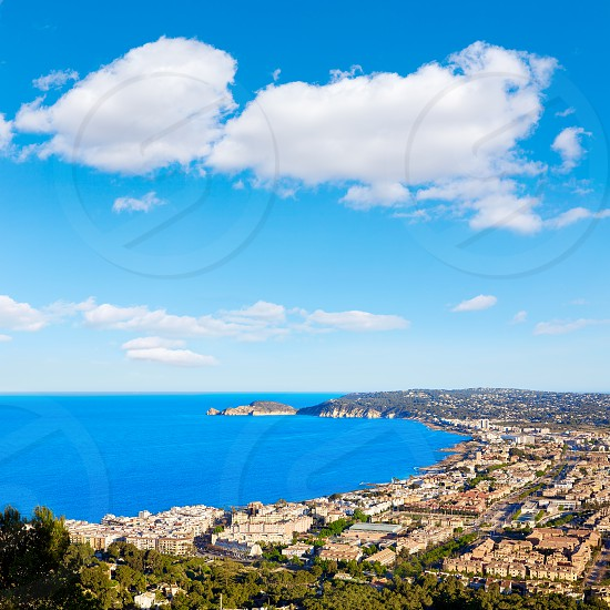 Javea Xabia aerial skyline with port bay and village in Alicante Spain photo