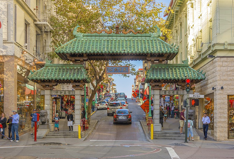 Chinatown dragon gate San Francisco California Asian  photo