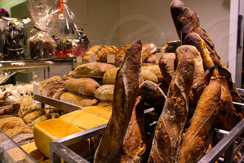 Fresh morning bread in Paris photo