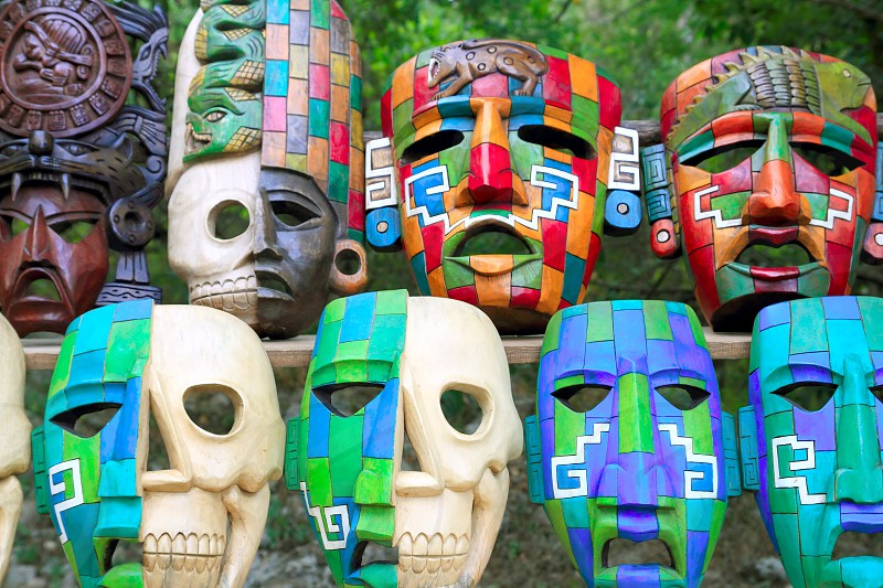 Colorful Mayan mask indian culture in Jungle handcrafts photo