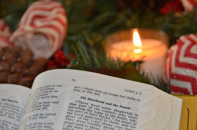 Bible Christmas Luke Shepherds Angels holidays religious candle garland red ribbon photo