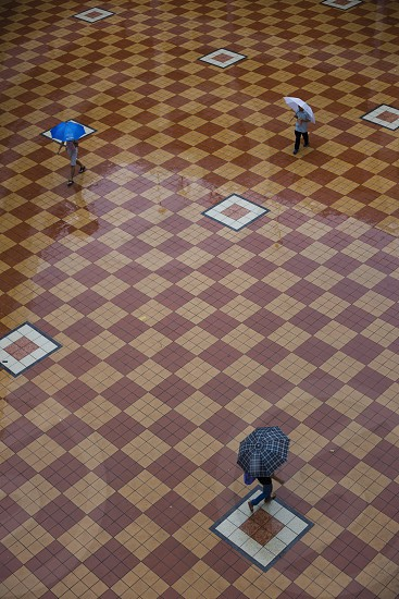 Street view of people walking with umbrella under the rain on a checker floor photo