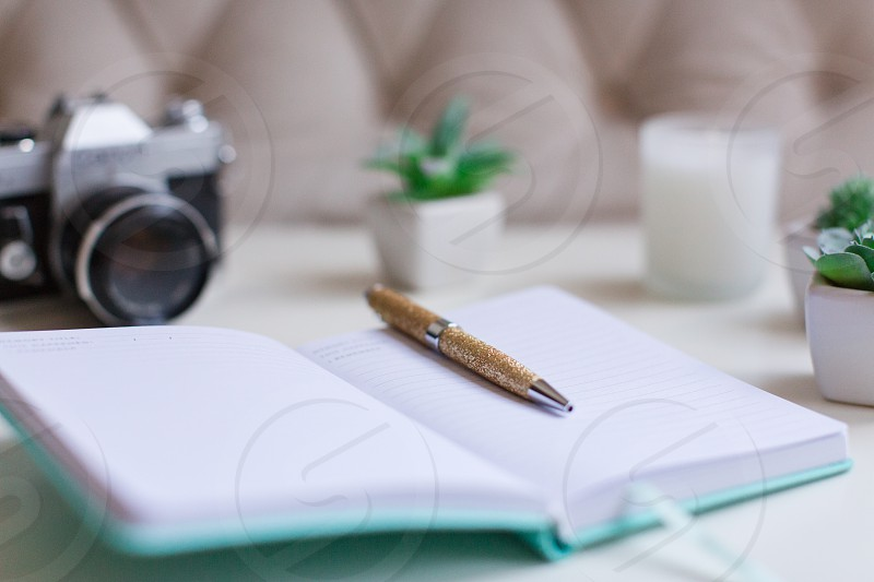 Desk with journal and pen and camera photo