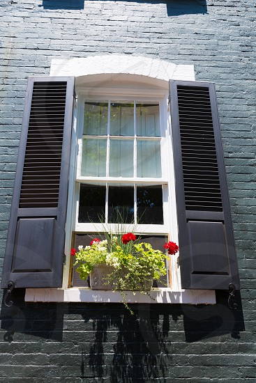 Georgetown townhouses facades window detail Washington DC in USA photo