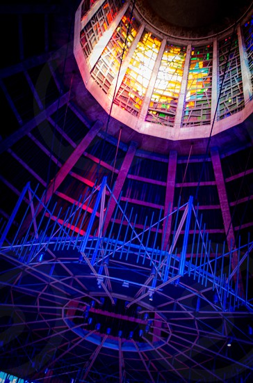 lots of triangles neon internal architecture modern photo
