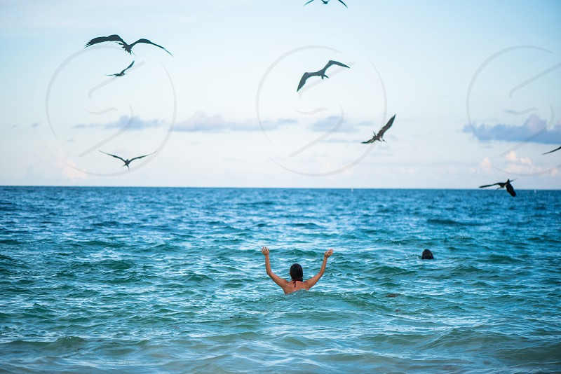 Woman coming into the ocean with big black birds flying above  photo