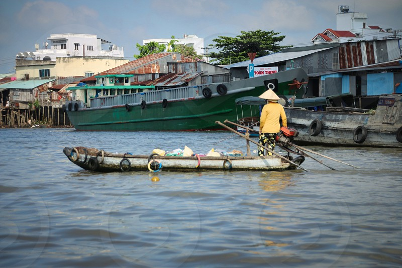 Boat on the water in Vietnam photo