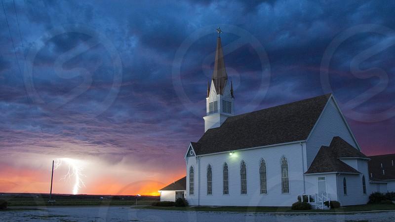Church storm sunset lightning Waco NE photo